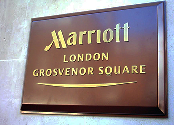 Hotel Signs London, Brass Plaque